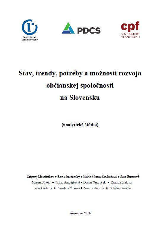 Stav, trendy, potreby a možnosti rozvoja občianskej spoločnosti na Slovensku